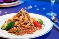 Spaghetti met Saus Stock Foto