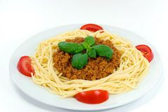 Spaghetti met saus bolognese Royalty-vrije Stock Foto's