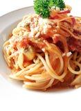 Spaghetti met tomaat & paddestoelen Stock Foto's