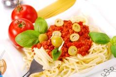 Spaghetti met tomatensaus Stock Afbeelding
