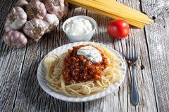 Spaghetti met tomatensaus Royalty-vrije Stock Foto's