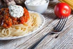 Spaghetti met tomatensaus Stock Foto's