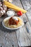 Spaghetti met tomatensaus Stock Foto