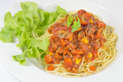 Spaghetti met tomatensaus Stock Fotografie
