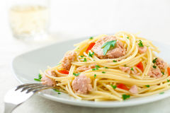 Spaghetti met Tonijn Royalty-vrije Stock Afbeelding