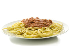 Spaghetti met tonijn en tomatensaus Royalty-vrije Stock Foto