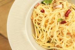 Spaghetti met tweekleppige schelpdieren Royalty-vrije Stock Foto