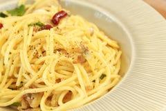 Spaghetti met tweekleppige schelpdieren Stock Foto's