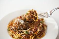 Spaghetti met Vleesballetjes Stock Foto