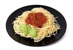 Spaghetti met vleessaus stock afbeelding