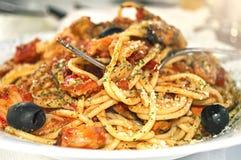 Spaghetti met zeevruchten Stock Afbeelding