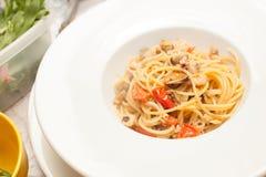 Spaghetti met zeevruchten royalty-vrije stock foto's