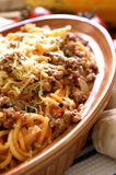 Spaghetti with mince meat Stock Images