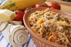 Spaghetti with mince meat and tomato sauce Stock Photos