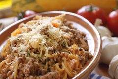 Spaghetti with mince meat and tomato sauce Stock Photo