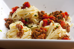 Spaghetti with minced meat Royalty Free Stock Images