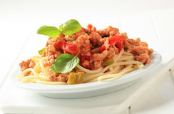 Spaghetti with minced meat Royalty Free Stock Photography