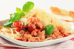 Spaghetti with minced meat and cheese Royalty Free Stock Images