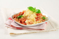 Spaghetti with minced meat and cheese Royalty Free Stock Image