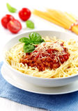 Spaghetti with minced meat and cheese Stock Photos