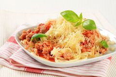 Spaghetti with minced meat and grated cheese Royalty Free Stock Image