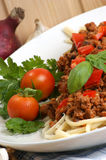 spaghetti with minced meat sauce Royalty Free Stock Image