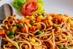 Spaghetti with minced meat and vegetables. Stock Photos