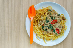 Spaghetti with minced meat and vegetables on a plate. Royalty Free Stock Image