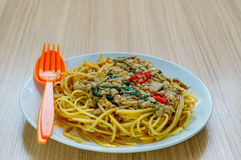 Spaghetti with minced meat and vegetables on a plate. Stock Photos