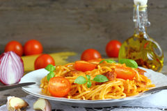 Spaghetti with minced meat and vegetables. Royalty Free Stock Photo
