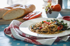 Spaghetti with minced pork. Stock Photo