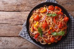 Spaghetti with minced and vegetables. horizontal top view Royalty Free Stock Photo