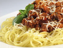 Spaghetti Mound. Spaghetti noodles with meat sauce Royalty Free Stock Image