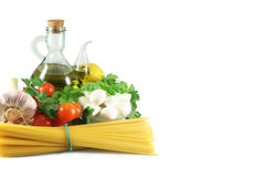 Spaghetti, mozzarella and tomatoes Royalty Free Stock Photography