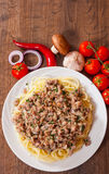 Spaghetti with mushroom and minced meat Stock Image
