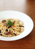 Spaghetti with mushroom for vegan Stock Photos