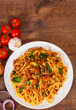Spaghetti with mushroom, vegetables and minced meat Stock Photo