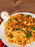 Spaghetti with mushroom, vegetables and minced meat Royalty Free Stock Photography