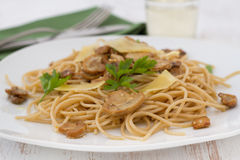 Spaghetti with mushrooms Royalty Free Stock Images