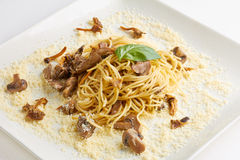 Spaghetti with mushrooms and cheese Royalty Free Stock Photography