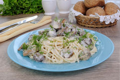 Spaghetti with mushrooms Royalty Free Stock Photos