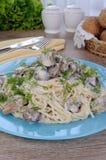 Spaghetti with mushrooms Stock Photos