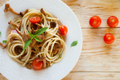Spaghetti with mushrooms, top view Stock Photo