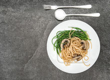 Spaghetti mushrooms vegetable Food background Stock Images