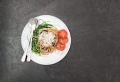 Spaghetti mushrooms vegetables Food background Stock Photos