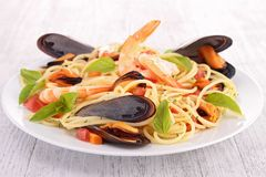 Spaghetti with mussel and shrimp Stock Photos