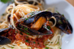 Spaghetti with mussels Royalty Free Stock Image