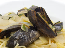 Spaghetti with mussels Royalty Free Stock Images
