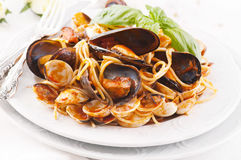 Spaghetti with mussels Stock Image
