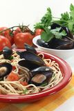 Spaghetti with mussels Stock Photos